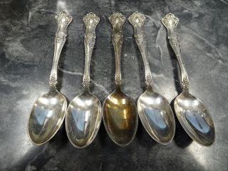 1847 Rogers Bros Xs Triple Pattern Vintage Grapes 5 Silverplate Teaspoons photo