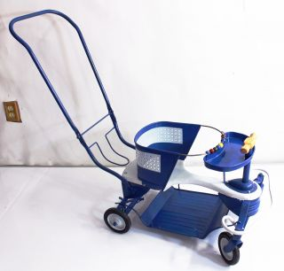 Vintage Antique Taylor Tot Baby Stroller Walker Blue Metal Baby Carriage photo