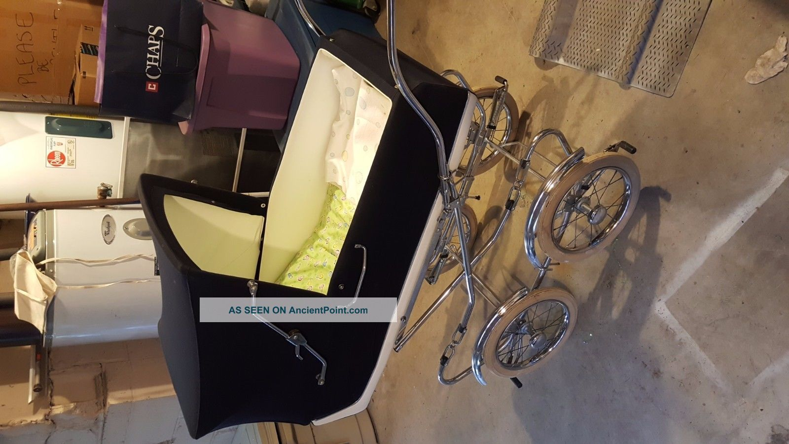 Vintage 1970 ' S Blue Perego Pram Carriage Stroller Made In Italy Cond Baby Carriages & Buggies photo