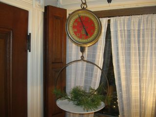 Vintage Antique Red Chatillon Glass Face Hanging Store Scale 1914 photo