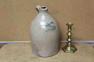 A Very Rare 1 Gal Cobalt Blue Incised Swan Decorated 19th C Stoneware Jug photo
