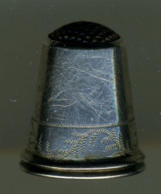 Three Antique Silver Thimbles W/steel Top photo