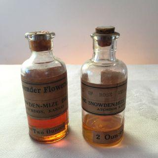 2 Antique Pharmacy Glass Bottles Lavender Oil Rose Geranium Snowden - Mize Drug photo