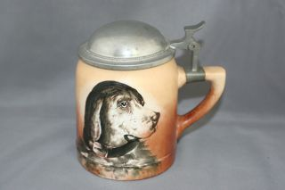 Antique Figural Dog Stein Mug Tankard Pewter Lid Possibly Unsigned Taylor Smith photo