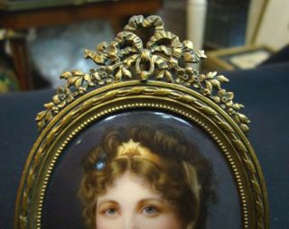 Antique European Small Porcelain Plaque W/ Bronze Frame photo