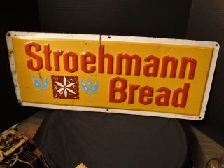 Vintage Stroehmann Bread Advertising Sign 12x30 Embossed Tin General Store photo