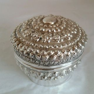 Traditional Tai Yai Lime Box With Cover.  Thai Laos Shan / Burmese Silver.  C1900s photo