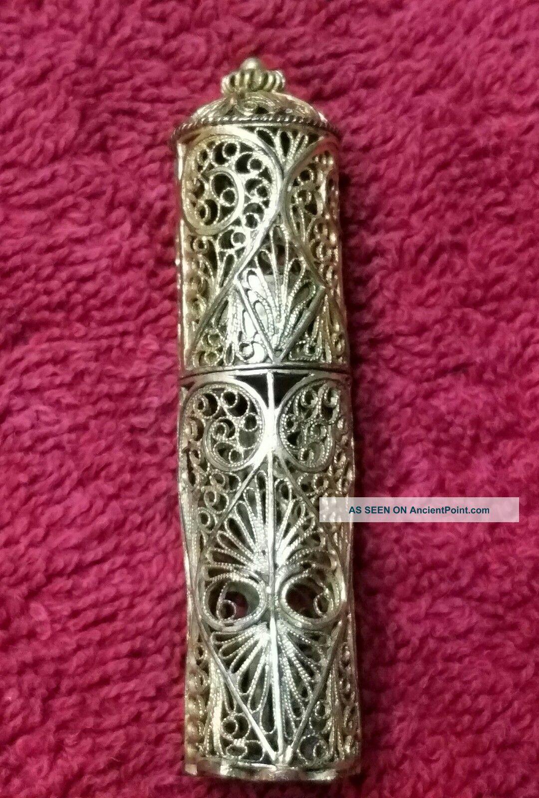 Antique Gilded Filigree Needle Case Tools, Scissors & Measures photo
