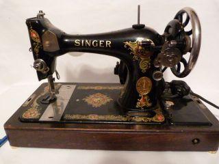 Vintage Singer Sewing Machine Wooden Case photo