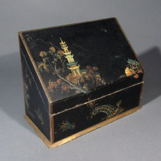 Antique Japanese Hand Painted Box,  Pagoda,  Temple,  Bridge,  Islands photo
