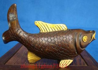 Antique Collectible Handmade Statue Bronze With Gilding Fish Art Deco photo