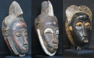 African Tribal Art: 3 Mask From The Baule People Of Cote D ' Ivoire Tt0091 - Tt0093 photo