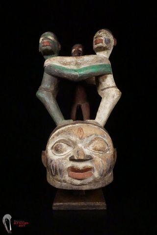 Discover African Art Yoruba Gelede Helmet Crest Mask W/ 3 - Person Superstructure photo