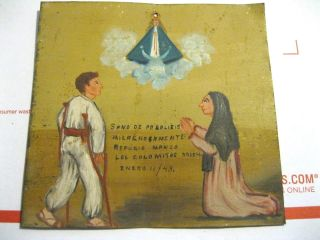 Antique Exvoto On Tin Man Thanking Our Ladyfor Healing Of Paralisis photo