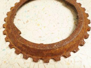 Antique Vintage Cast Iron Jd Industrial H3102b Planter Plate Farm Gear photo