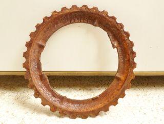 Antique Vintage Cast Iron Jd Industrial H3102b Farm Planter Plate Gear photo