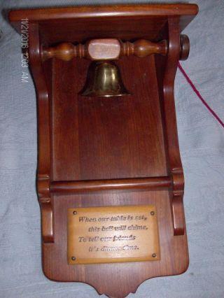 Antique Leopold Stickley Solid Cherry Dinner Bell Brass Vintage photo