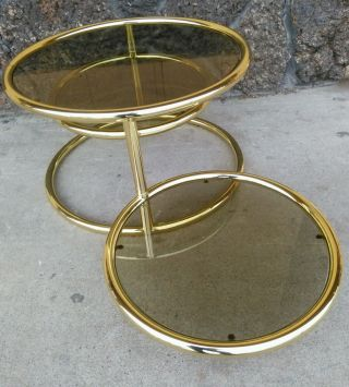 Mid Century Milo Baughman Style Brass Plated 3 Tier Swivel Glass Coffee Table photo
