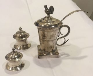 Antique Sterling Silver Iraqi Middle Eastern Mustard W Rooster Finial Judaica, photo