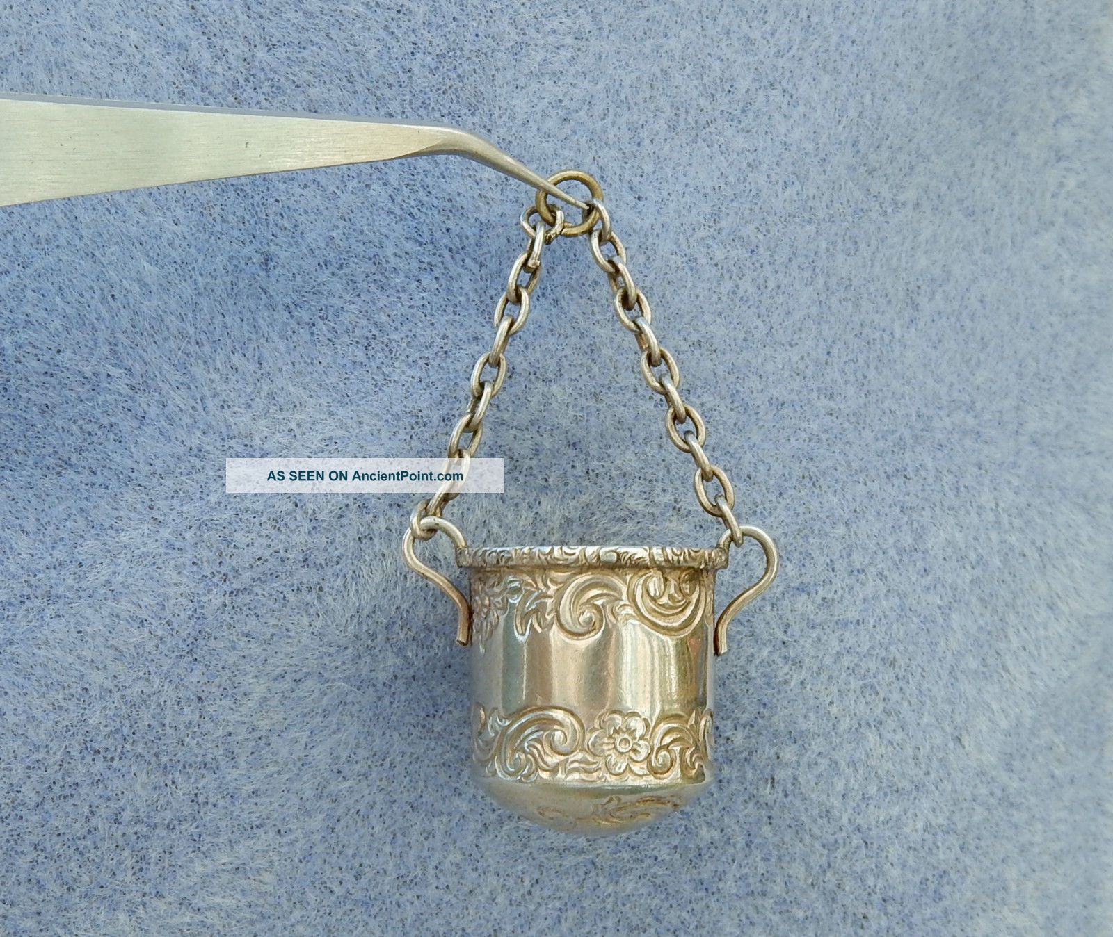 Antique Victorian Sterling Silver Chatelaine Thimble Bucket Holder Hm 1893 Tools, Scissors & Measures photo