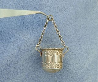 Antique Victorian Sterling Silver Chatelaine Thimble Bucket Holder Hm 1893 photo