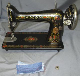 Serviced Antique 1923 Singer 66 - 1 Red Eye Treadle Sewing Machine Worx Video photo