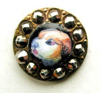 Antique Button Hand Paint Enamel Dog Head W/ Cut Steel Border - 1/2