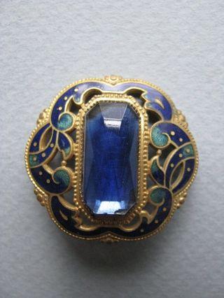 Exquisite Large Antique Art Nouveau Button Blue Enamel Faceted Glass Fancy photo