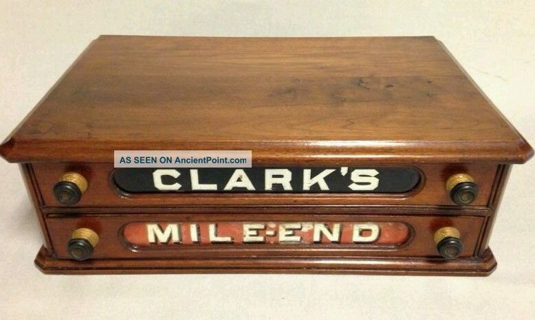 Fine Antique Clark ' S Mile End Spool Cotton Cabinet Sewing Counter Store Display Furniture photo