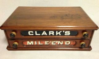 Fine Antique Clark ' S Mile End Spool Cotton Cabinet Sewing Counter Store Display photo