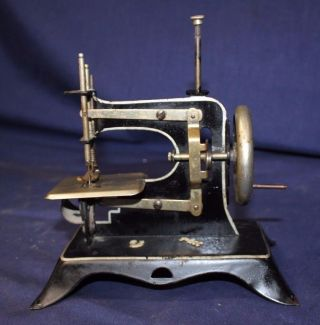 Antique Tin Child Toy Sewing Machine 120,  Yr Old Made In Denmark 1880s photo
