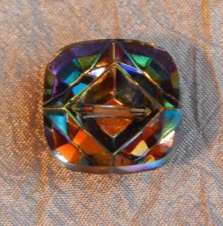 Antique Vintage Glass Button Multi Colored Kaleidoscope 005 - A photo