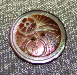 Antique Vintage Button Carved Mother Of Pearl Abalone Shell 011 - A photo