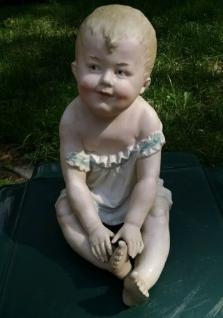 Large Antique Gebruder Heubach Bisque Piano Baby photo