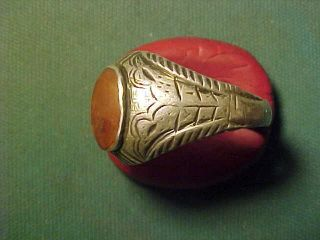 Near Eastern Hand Crafted Solid Silver Ring,  Carnelian Stone Circa 1700 - 1900 photo