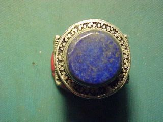 Near Eastern Hand Crafted Ring,  Lapis Lazuli Stone Circa 1700 - 1900 photo