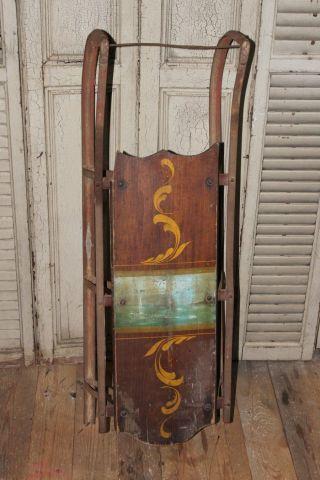 Antique Primitive Wood Snow Sled Old Paint Folk Art photo
