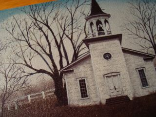 Old Country Primitive Church Americana Canvas Painting Print Home Decor Sign photo