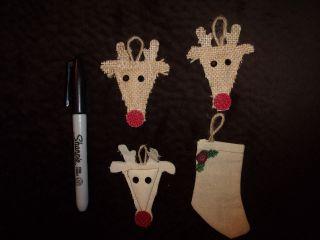 Primitive Burlap/jute Folk Americana Cloth Mini Tree Ornaments Or Bowl Fillings photo