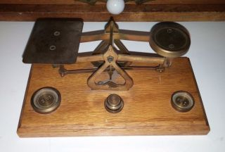 Antique Vintage Wood Brass Postal Scale W/ Weights Made In England 1/2 - 2 Oz photo