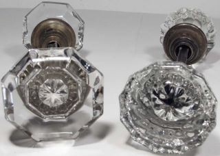 4 Antique Glass Door Knobs,  2 Have 8 Points And 2 Have 12 Points In The Glass photo