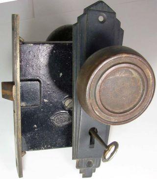 Antique Orbin Door Lock W/2 Knobs,  Front Plate & Key - W/brass Mortise Plate photo