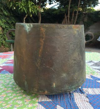 Extremely Old Antique Cauldron Kettle Hand Crafted Copper Primitive Mid 1800 ' S photo