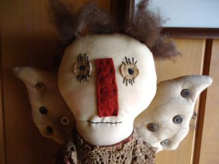 Primitive Country Angel Doll Hand Stitched Face,  Lace 29