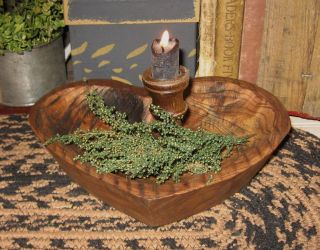 Heart Wood Dough Pantry Bowl Primitive/french Country Kitchen Farmhouse Decor photo