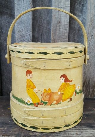 Firkin Wooden Bucket With Top Hand Painted Signed Shirley Dixon photo