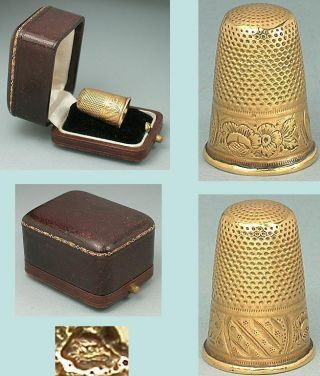 Antique 18 Kt Gold French Thimble In Leather Case Circa 1880 photo