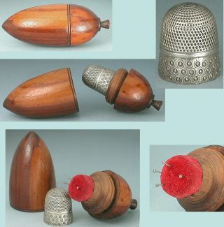 Antique Pin Poppet / Pin Cushion / Thimble Case Sterling Silver Thimble C1820 photo