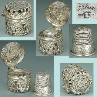Antique Sterling Silver Chatelaine Thimble Case & Wild Roses Thimble By Webster photo