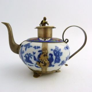 Sino Tibetan Blue And White Porcelain Armoured Teapot,  Marked To Base photo